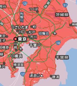 ソフトバンク系ポケWiFiの通信エリアー関東