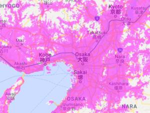WiMAXのau通信エリア関西