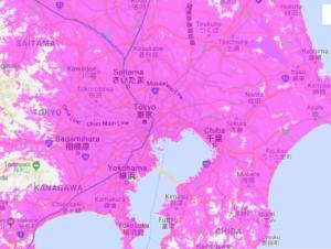 WiMAXのau通信エリア関東