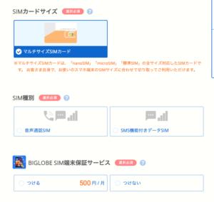 BIGLOBEモバイル申し込み〜SIMカードサイズ